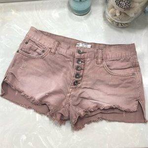 Free People button fly distressed shorts